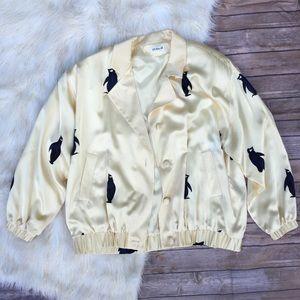 VTG Penguin Silk Bomber Style Jacket Doncaster